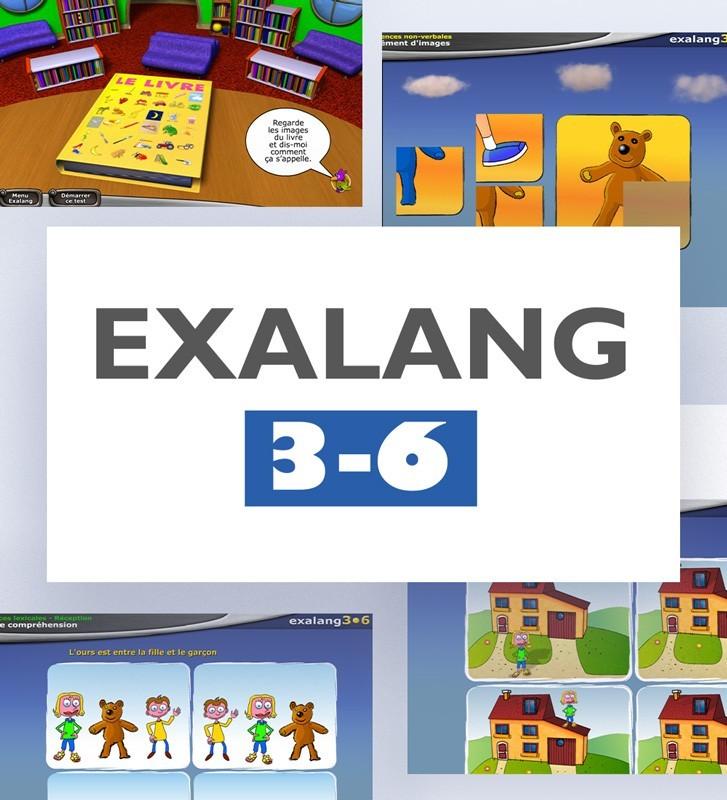 Exalang 3-6, logiciel d'évaluation du langage oral chez l'enfant de 3 à 6 ans. A destination des orthophonistes et logopèdes.