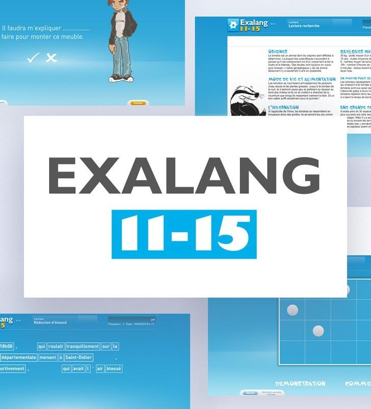 Exalang 11-15 logiciel d'évaluation du  langage des 11 à 15 ans, à destination des orthophonistes
