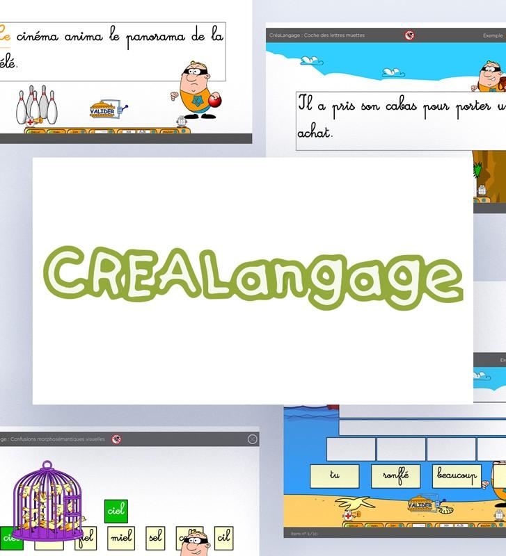 Logiciel Créalangage, logiciel de rééducation dyslexies ou rééducation du langage écrit. Logiciel orthophonie.