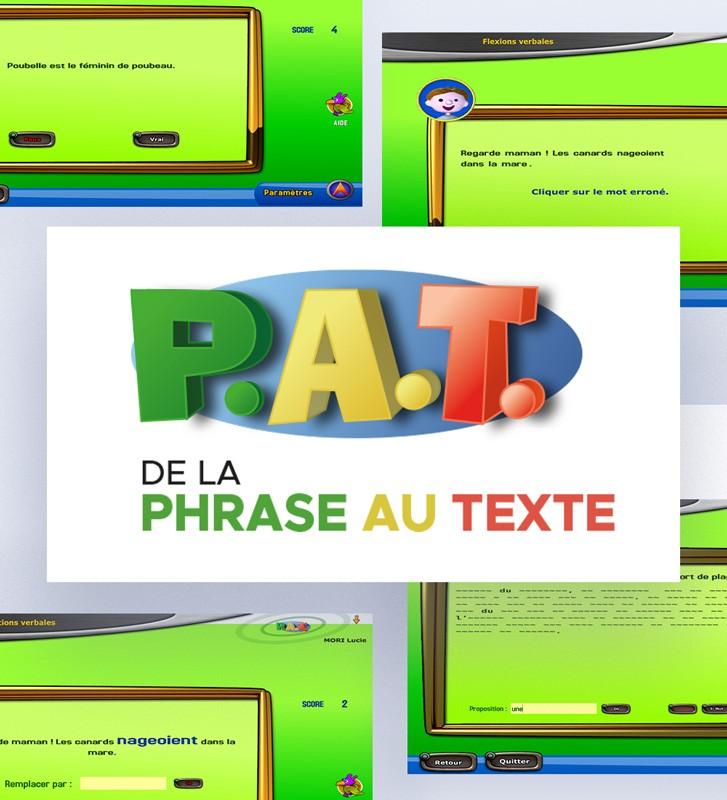 Logiciel PAT - De La Phrase Au Texte pour la  rééducation du langage écrit. Orthophonie.
